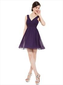 Elegant Purple Chiffon V Neck Short A Line Bridesmaid Dresses