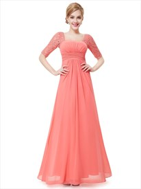 Coral Chiffon Floor Length Bridesmaid Dress With Lace Half Sleeves