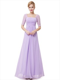 Lilac Chiffon Floor Length Bridesmaid Dress With Lace Half Sleeves