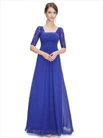 Royal Blue Chiffon Party Wedding Bridesmaid Dress With Lace Sleeves