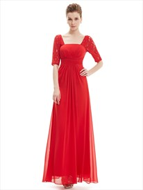 Red Chiffon Party Wedding Bridesmaid Dress With Lace Sleeves