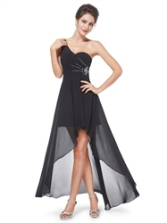 Black One Shoulder High Low Chiffon Bridesmaid Dress With Beaded Detail