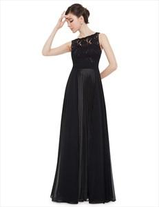 Elegant Black Lace Illusion Neckline Chiffon Long Bridesmaid Dress