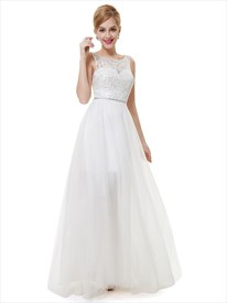 Elegant Ivory Lace Bodice Beaded Chiffon Long Bridesmaid Dress