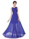 Royal Blue Chiffon Sheer Skirt Bridesmaid Dress With Lace Detail