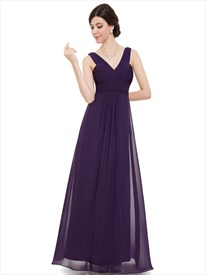 Elegant Purple V Neck Chiffon A Line Floor Length Bridesmaid Dresses