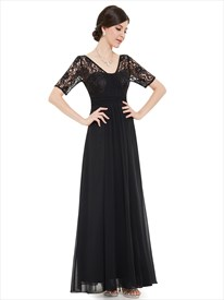 Black V Neck Lace Bodice Chiffon Bridesmaid Dresses With Half Sleeves