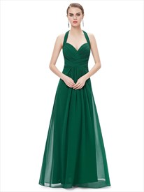 Emerald Green Chiffon Halter Neck Bridesmaid Dresses With Ruching