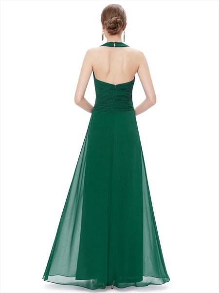 Emerald Green Chiffon Halter Neck Bridesmaid Dresses With Ruching