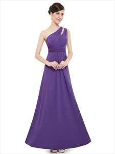 Elegant Purple One Strap Long Bridesmaid Dresses With Beaded Straps