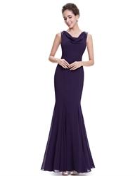 Purple Mermaid Cowl Neck Chiffon Prom Dresses With Beaded Straps