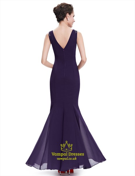 Purple Mermaid Cowl Neck Chiffon Prom Dresses With Beaded Straps