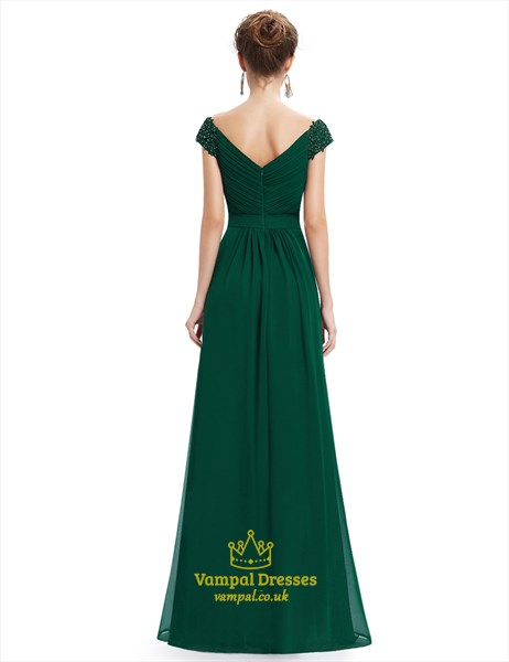 Emerald Green V Neck Bridesmaid Dresses With Beaded Lace Applique