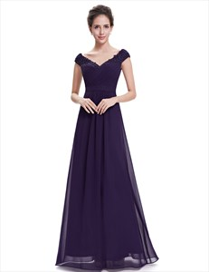 Purple V Neck Bridesmaid Dresses With Beaded Lace Applique
