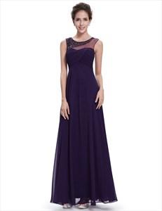 Purple Sleeveless Chiffon Floor Length Prom Dress With Beaded Neckline
