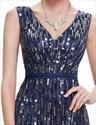 Elegant Navy Blue Floor Length Contrast V-Neck Sequin Prom Dress
