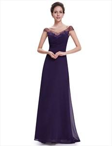 Purple Chiffon V Neck Cap Sleeves Bridesmaid Dresses With Lace Applique