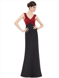 Black And Red V Neck Empire Waist Embellished Ruched Sheath Prom Dresses