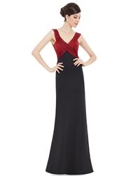 Black And Red V Neck Empire Waist Embellished Ruched Sheath Prom Dresses