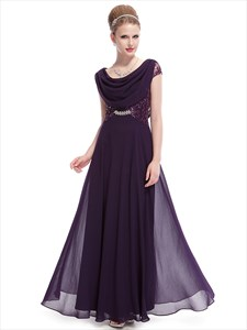 Purple Chiffon Cap Sleeves Cowl Back Prom Dress With Lace Bodice