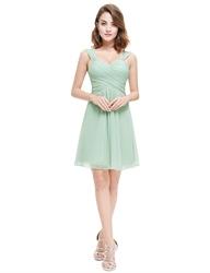 Sage Green Short Sweetheart Chiffon Bridesmaid Dress With Straps