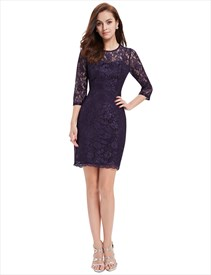 Purple Lace Illusion Neckline Sheath Cocktail Dress With 3/4 Sleeves
