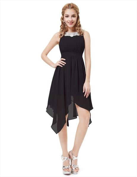 Black Chiffon Jewel Embellished Cocktail Dress