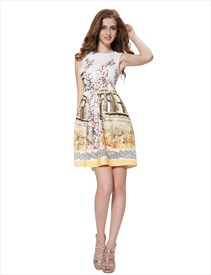Vintage Style Sleeveless Floral Print Fit And Flare Skater Dresses