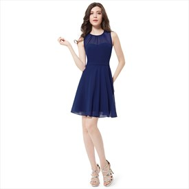 Elegant Navy Blue Sleeveless Short Chiffon Bridesmaid Dress