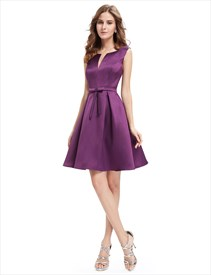 Grape Fit And Flare V Neck Short Cocktail Dresses With Belts