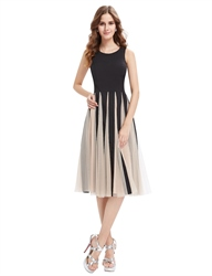 Black And Champagne Midi Length Cocktail Dress With Tulle Skirt
