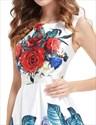 Vintage White Floral Print Summer Fit And Flare Skater Dress For Ladies
