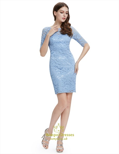 Light Blue Lace Sheath Cocktail Dress With Half Sleeves