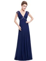Royal Blue Sleeveless V Neck Empire Prom Dress With Beaded Waist