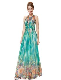 Green Floral Sleeveless Print Chiffon Halter Maxi Dress