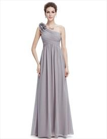 Grey Chiffon One Shoulder Flower Strap Long Bridesmaid Dress