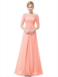 Elegant Peach Long Chiffon Bridesmaid Dresses With Lace Sleeves