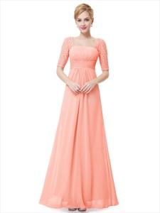 Elegant Peach Long Chiffon Bridesmaid Dresses With Lace Sleeves