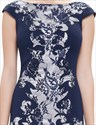 Elegant Navy Blue Mermaid Lace Prom Dress With Cap Sleeves