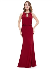 Red Slit Mermaid Prom Dresses With Beaded Top