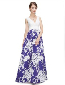 Blue And White V Neck Floral Print Maxi Prom Dress