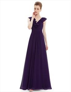 Purple A-Line V-Neck Chiffon Bridesmaid Dress With Ruffle Collar