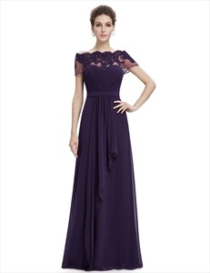 Purple Off The Shoulder Chiffon Prom Dress With Beaded Lace Applique
