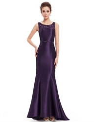 Purple Beaded Neckline Mermaid Lace Embellished Prom Dress