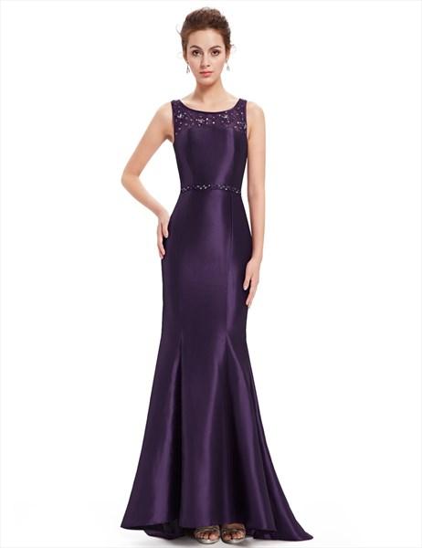 Purple Beaded Neckline Mermaid Lace Embellished Prom Dress