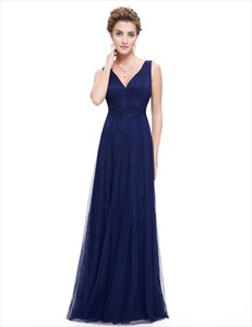 Navy Blue Contrast V Neck Lace Prom Dress With Tulle Overlay