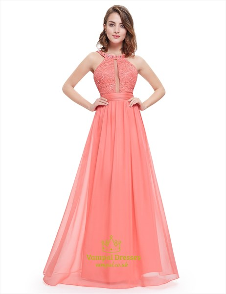 Coral Sleeveless Beaded Chiffon Prom Dress With Jewelled Neckline