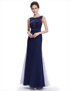 Navy Blue Sheath Floor Length Tulle Prom Dress With Beaded Lace Applique