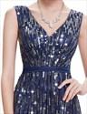 Elegant Navy Blue V-Neck Floor Length  Sequin Prom Dress