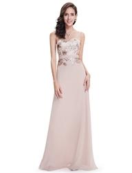 Pastel Pink Illusion Neckline Chiffon Prom Dress Embroidered Bodice